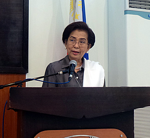 Hon. Herminia M. Ramiro, Misamis Occidental Provincial Governor, delivers her welcome remarks during the IBAMO's Planning Workshop and 5th Executive Meeting last 26 February 2014 at N Hotel, Cagayan de Oro City.