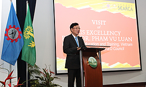H.E. Prof. Dr. Pham Vu Luan, Minister of Education and Training of Vietnam and President of the Southeast Asian Ministers of Education Organization (SEAMEO) Council, delivers his message.