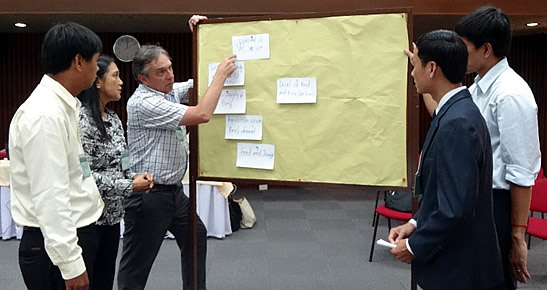 Dr. Robert Dyball (left; nearest to the board) of ANU guides participants from Cambodia in their workshop exercise.