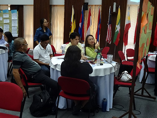 Participants from Oriental Mindoro province, the Philippines discuss their  view of their initiatives in a way that escapes from the 'commodity trap.' Second from right is Mr. Henry Custodio, Program Specialist of SEARCA's Research and Development Department, facilitating the group discussions.