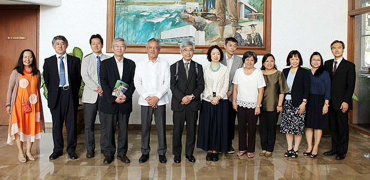 Officers and staff from Nagoya University (NU) led by Dr. Yoshito Watanabe, Vice President for International Affairs and Public Relations and NU Trustee (fourth from left) visited SEARCA on 9 March 2016 to strengthen existing ties with the Center. Joining him were Dr. Akira Yamauchi, Professor of Bioagricultural Sciences and Director of International Cooperation for Agricultural Education (ICCAE) (second from left); Dr. Aya Okada, NU Vice Trustee, (third from right); Dr. Fumio Isoda, Director of NU Asian Satellite Campuses Institute (sixth from left);  Dr. Editha C. Cedicol, Professor and Director, NU Asian Satellite Campus-Philippines (fifth from right); Dr. Sanae Ito, Dean, NU Graduate School of International Development (seventh from the right); Dr. Kazuhito Kawakita, Professor and Dean, NU Graduate School of Biological Sciences (rightmost); Dr. Satoshi Ohkura, Professor of Biological Sciences (third from left); and Dr. Takeshi Higashimura, Professor of Graduate School of International Development (sixth from right). Dr. Gil C. Saguiguit, Jr., SEARCA Director (fifth from left) received the NU delegation together with SEARCA's Program Heads, namely: Dr. Maria Celeste H. Cadiz of the Knowledge Management Department (KMD) (leftmost); Dr. Maria Cristeta N. Cuaresma of the Graduate Education and Institutional Development Department (GEIDD) (fourth from right); and Dr. Bessie M. Burgos of the Research and Development Department (RDD) (second from right).