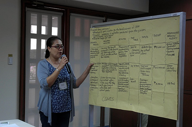 Mrs. Glenda Aruejo (CGMES) presents their Action Plan