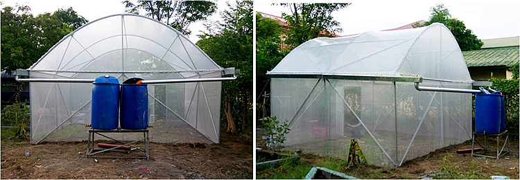 Mini-greenhouse (5m x 4m) serving as seeds/planting materials nursery, with rainwater collection system.